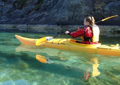 Kayaking in clear water